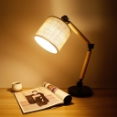 Fabric Barrel Night Table Lighting Minimalism 1 Head Black Desk Light with Adjustable Arm Design
