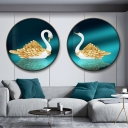 Goose Wall Mural Light Oriental Fabric LED Bedroom Wall Lighting Ideas in Green, Right/Left