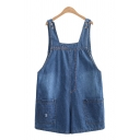 Cool Overalls Light Wash Ripped Pocket Stitch Button Short Denim Overalls for Girls
