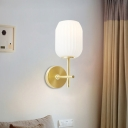 Lantern Wall Mounted Light Contemporary Ribbed Glass Single Head Bedroom Wall Lighting in Gold