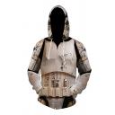 Mens Fashion 3D Hooded Sweatshirt Battle-damaged Robot Shell Pattern Zipper Pocket Drawstring Regular Fit Long Sleeve Hoodie