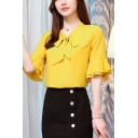 Womens Summer Trendy Bow-Tied Collar Ruffled Sleeve Plain Chiffon Blouse Top