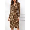 V Neck Long Sleeve Leopard Printed Tie Waist Brown Midi A-Line Dress