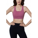 Sportswear Womens Scoop Neck Hollow Out Back Fitted Yoga Bustier in Purple