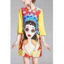 Retro Ladies Character Printed Crew Neck 3/4 Sleeve Short Swing T Shirt Dress in Yellow