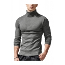 Classic Mens Tee Top Solid Color Long Sleeve High Neck Skinny Fitted Tee Top