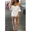 Novelty Womens Rompers Lace Patchwork 3/4 Flared Cuff Sleeve Cold Shoulder Loose Fitted Short Sleeve Rompers