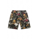 Trendy Mens All Over Leaf Flower Printed Drawstring Waist Relaxed Fit Shorts in Black