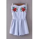 Womens Rompers Simple Flower Leaf Embroidered Pleated Cut-out Back A-Line Regular Fitted Strapless Rompers