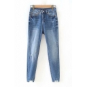 Womens Jeans Chic Blue Medium Wash Ripped Zipper Fly Ankle Length Slim Fit Tapered Jeans