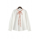 Trendy Long Sleeve Collarless Bow Tied Neck Button Up Relaxed Fit Shirt Top in White