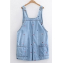 Fashionable Girls Fish Embroidered Bleach Pockets Patched Straight Suspender Denim Shorts