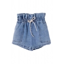 Novelty Womens Shorts Faded Wash Large Pockets Bud High Drawstring Waist Wide Leg Regular Fitted Denim Shorts