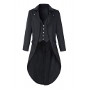 Mens Gothic Steampunk Plain Long Sleeve Victorian Tailcoat Medieval Longline Blazer Coat