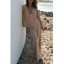 Casual Womens Solid Color Long Sleeve Crew Neck Button Up Loose T Shirt & Long Wide-leg Pants Pajamas Set in Apricot