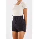 Black Classic Womens Shorts Dark Wash Rolled Cuffs High Elastic Rise Single-Breasted Slim Fitted Denim Shorts