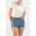 Classic Blue Womens Shorts Rolled Cuffs High Rise Zipper Fly Slim Fitted Denim Shorts with Washing Effect