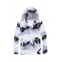 Classic Mens Jacket Color-Block Air Mesh Bungee-Style Drawstring Waist Zipper up Long Sleeve Loose Fit Hooded Sun-Protective Jacket