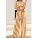 Womens Jumpsuits Chic Wide Striped Pattern Sexy Back Sleeveless Strap Loose Fitted Wide Leg Jumpsuits