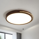 Walnut Wood Round Flush Mount Lamp Minimalism Brown LED Close to Ceiling Light with Grip, 13