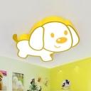 Cartoon Puppy Ceiling Lamp Acrylic Children Bedroom LED Flush Mount Light Fixture in Yellow