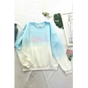 Fashion Ombre Letter DNA Print Crew Neck Long Sleeve Relaxed Fit Pullover Sweatshirt