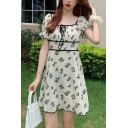 Lovely Girls All Over Flower Printed Puff Sleeve Square Neck Bow Tied Short A-line Dress in Apricot