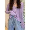 Pretty Ladies Knit Long Sleeve V-neck Button Up Plain Regular Fit Cardigan