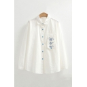 White Pretty Embroidered Pleated Single Breasted Spread Collar Long Sleeve Relaxed Fit Shirt for Women