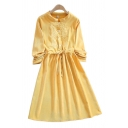 Gorgeous Womens Flower Embroidered Long Sleeve Crew Neck Button Up Drawstring Waist Mid Fit & Flared Shirt Dress