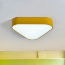 Triangle Acrylic Ceiling Lamp Contemporary White/Purple/Yellow LED Flush Mount Lighting Fixture