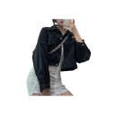 Stylish Womens Solid Color Long Sleeve Stand Collar Metallic Button Up Flap Pockets Relaxed Crop Denim Jacket