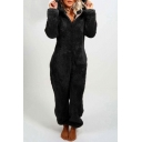 Fashion Womens Jumpsuits Plain Zip Closure Long Sleeves Elastic Cuff Hooded Full Length Fur Jumpsuits