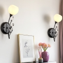 1/2-Bulb Branch Wall Lighting Modernist Black Finish Metal Wall Sconce with Dome Opal Glass Shade