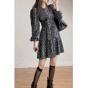 Womens Unique Leopard Printed Puff Long Sleeve Crew Neck Slit Short A-line Dress in Black