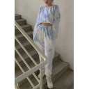 Trendy Womens Tie Dye Printed Long Sleeve Crew Neck Relaxed Fit Cropped Pullover Sweatshirt in Blue