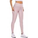 Women's Fancy Leggings Plain Patched Detail Skinny Full Length Pockets High Waist Regular Leggings