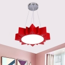 Sun Acrylic Hanging Lamp Kit Simplicity Red/Blue/Yellow LED Pendant Chandelier for Kindergarten