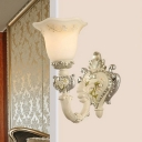 Resin Carved Wall Light Sconce Rustic 1/2 Lights Living Room Wall Mounted Lighting in White
