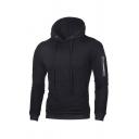 Mens Fashion Hooded Sweatshirt Plain Drawstring Contrast Trim Kangaroo Pocket Long-sleeved Zipper Quilted Slim Fit Hooded Sweatshirt