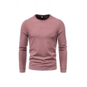 Casual Pullover Sweatshirt Solid Color Crew Neck Long-sleeved Slim Fitted Pullover Sweatshirt for Men