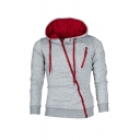 Casual Hooded Sweatshirt Solid Color Drawstring Zipper Long-sleeved Ribbed Trim Slim Fitted Hooded Sweatshirt for Men
