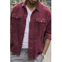 Cool Mens Jacket Plain Corduroy Flap Chest Pockets Button-down Long Sleeve Turn-down Collar Loose Fitted Casual Jacket