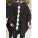 Mens Cape Coat Unique Rhombus Printed Ribbon Detail Contrast Trim Loose Fitted Half Batwing Sleeve Hooded Cape Coat