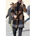 Novelty Mens Trench Coat Horizontal Wide Striped Woolen Cloth Flap Pockets Wide Lapel Collar Button down Long Sleeve Slim Fitted Trench Coat
