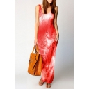 Casual Tie Dye Printed Sleeveless Scoop Neck Long Shift Tank Dress for Women