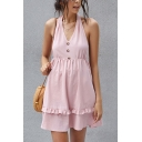 Pretty Girls Bow Tied Halter Stringy Selvedge Button up Short A-line Tank Dress in Pink