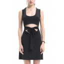 Simple Solid Color Bow Tie Waist Cut Out Front U-Shaped Collar Sleeveless Mini Sheath Tank Dress for Women
