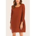 Simple Solid Color Round Neck Long Sleeve Oversized Short T Shirt Dress for Women