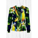 Mens Tropical Style 3D Sweatshirt Animal Parrot Floral Frangipani Leaf Pattern Round Neck Regular Fitted Long Sleeve Pullover Sweatshirt